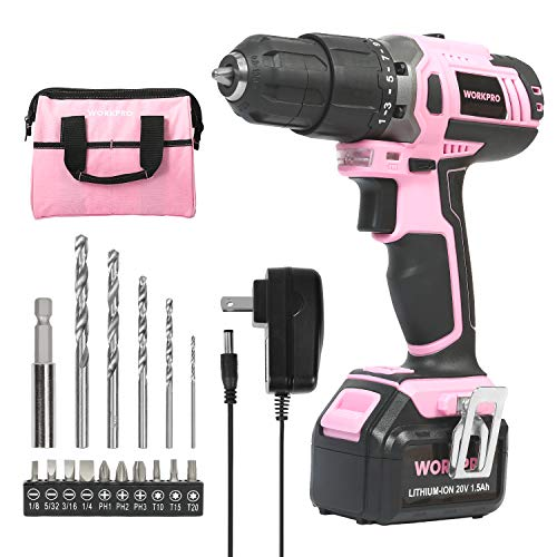 WORKPRO Pink Cordless 20V Drill Driver Set